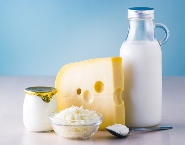 Dairy products including yogurt, cheeses and milk